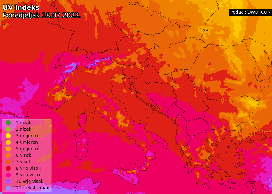 Prognoza UV indeksa za Europu danas