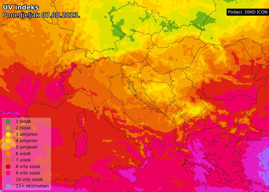 Prognoza UV indeksa za Europu prekosutra