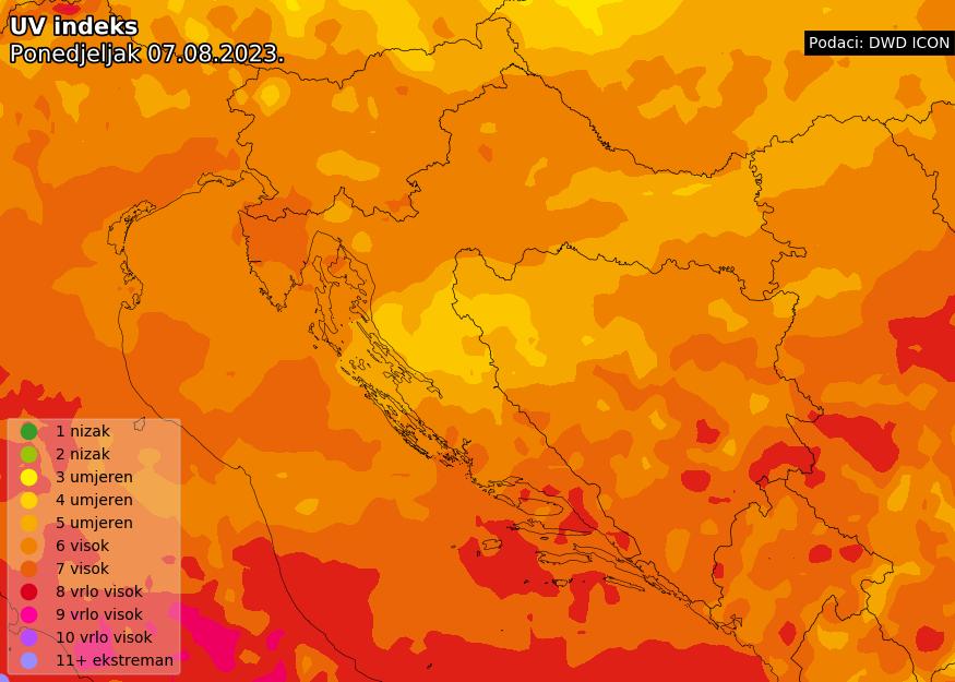 Prognoza UV indeksa za Hrvatsku danas