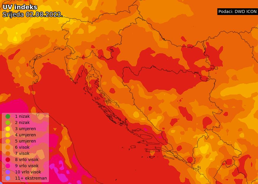 Prognoza UV indeksa za Hrvatsku sutra