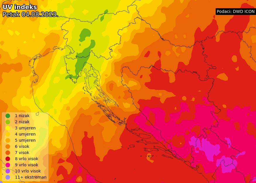 Prognoza UV indeksa za Hrvatsku prekosutra